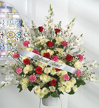 Very SympathyFuneral Tribute With Personalized Ribbon UD94