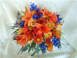Bouquet For Brides Orange And Blue Bouquets